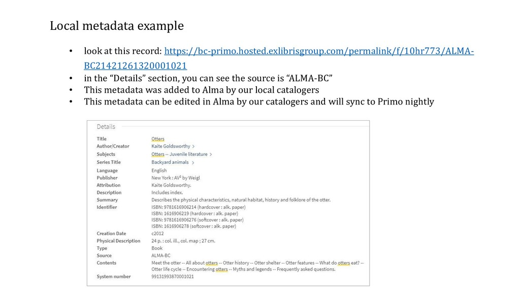 Local metadata example • look at this record: h...