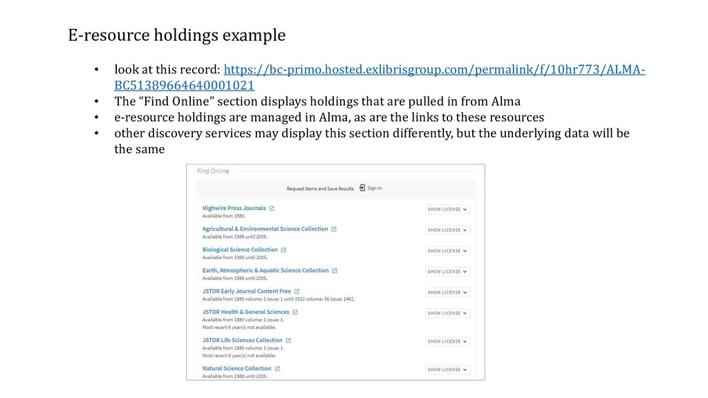 E-resource holdings example • look at this reco...