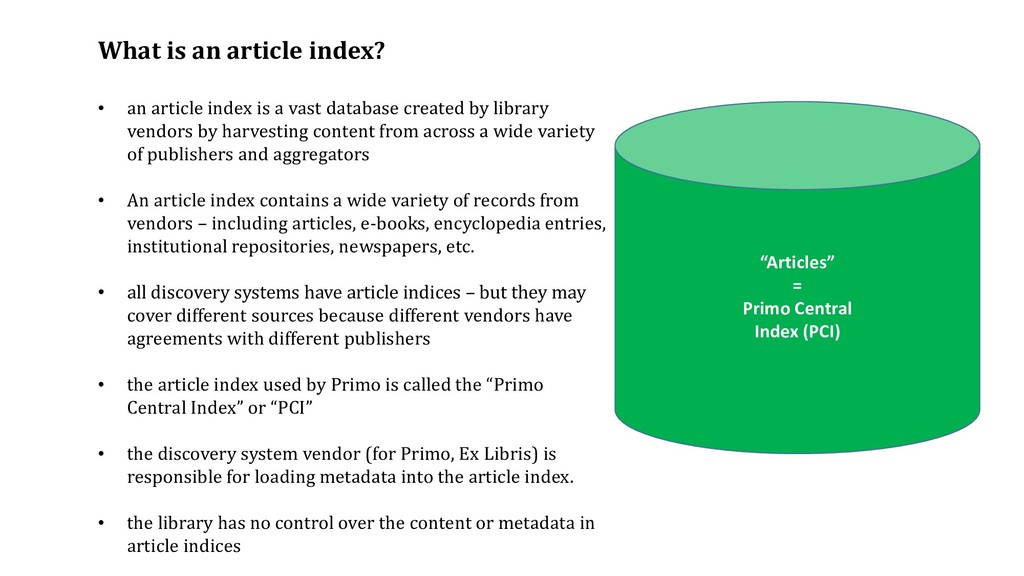 """""""Articles"""" = Primo Central Index (PCI) What is ..."""