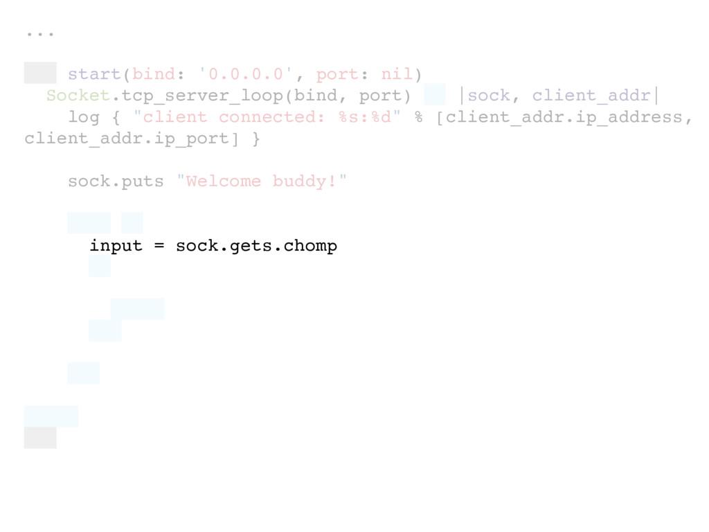 ... def start(bind: '0.0.0.0', port: nil) Socke...