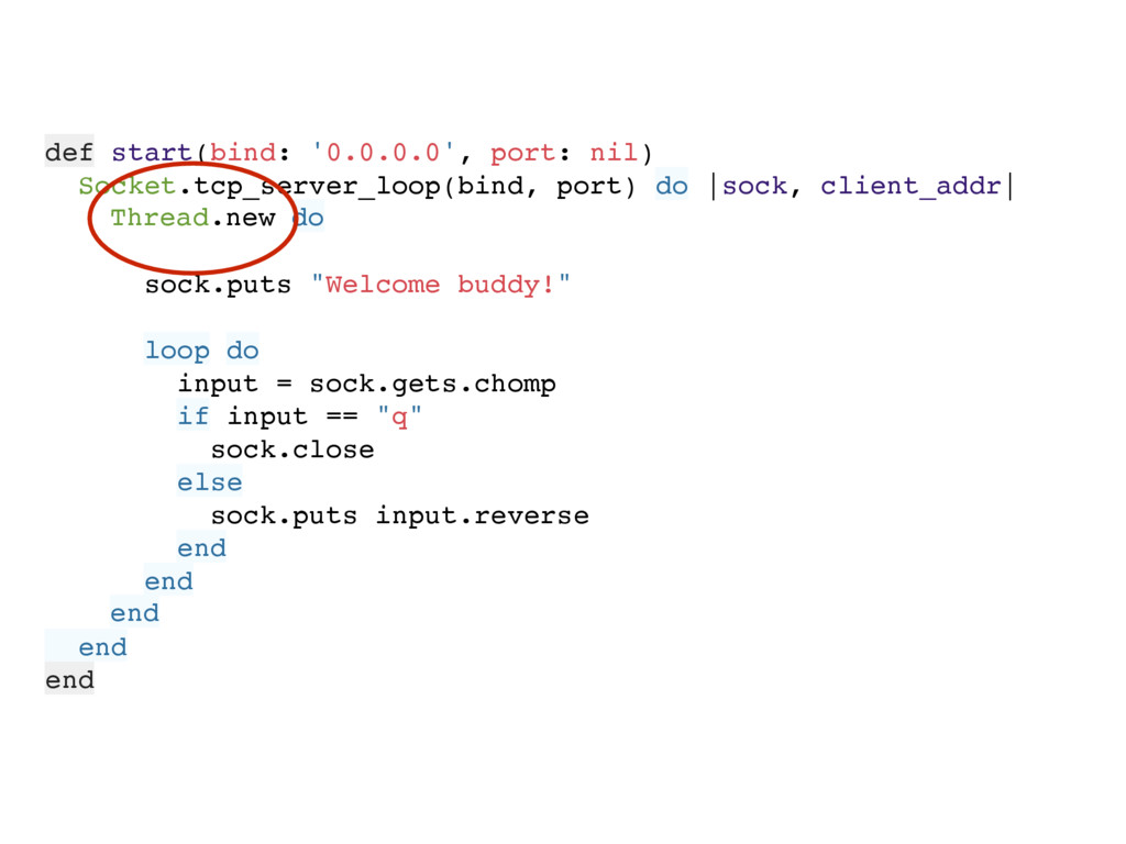 def start(bind: '0.0.0.0', port: nil) Socket.tc...