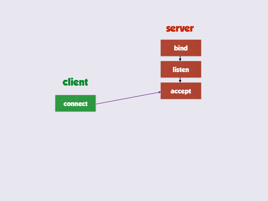 bind listen accept connect server client