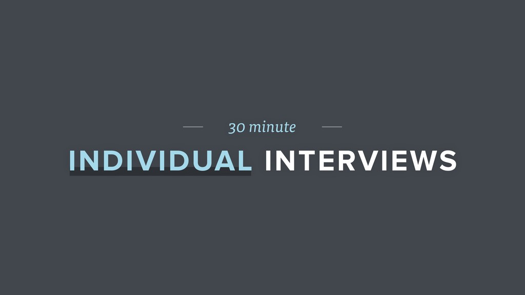 30 minute INDIVIDUAL INTERVIEWS