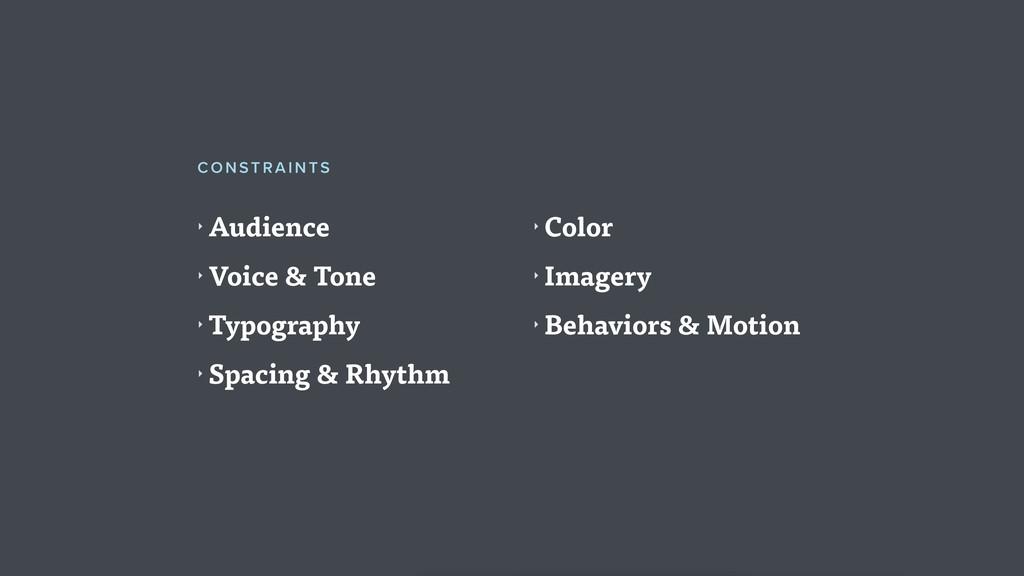 ‣ Audience ‣ Voice & Tone ‣ Typography ‣ Spacin...