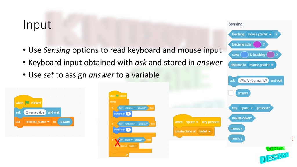 Input • Use Sensing options to read keyboard an...