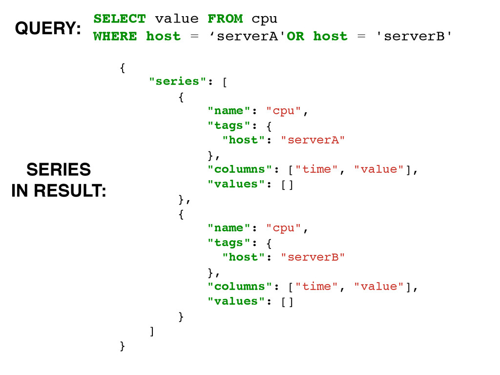 SELECT value FROM cpu! WHERE host = 'serverA'OR...