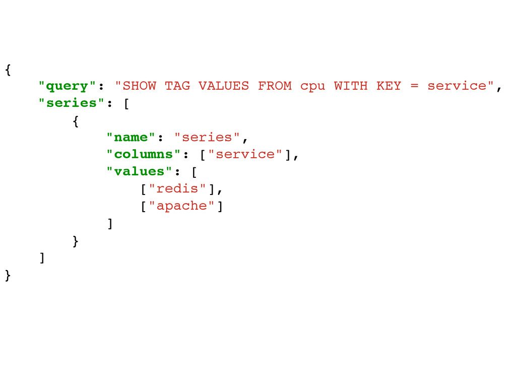 """{! """"query"""": """"SHOW TAG VALUES FROM cpu WITH KEY ..."""