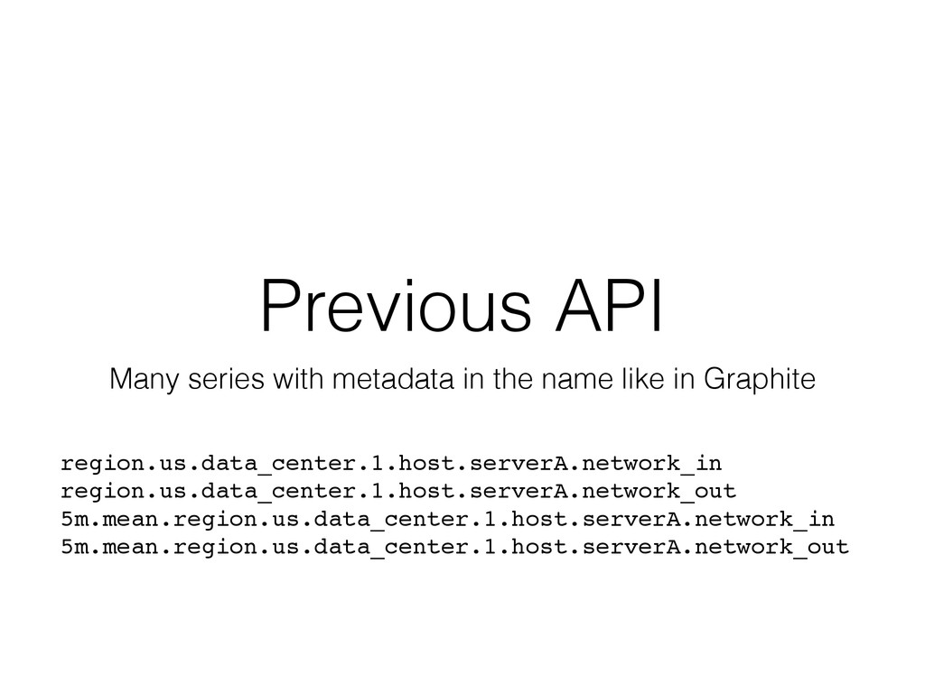 Previous API Many series with metadata in the n...