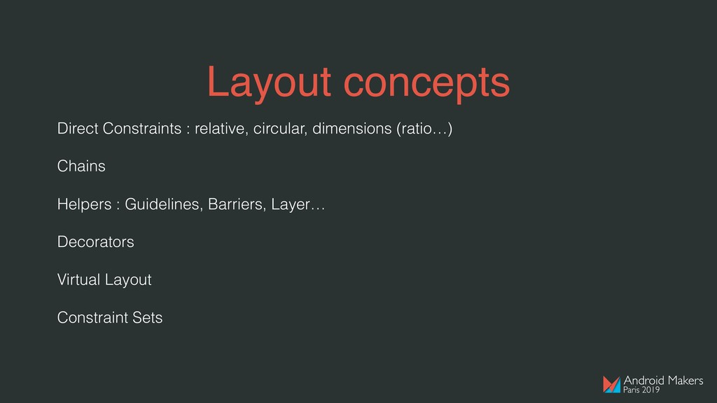 Layout concepts Direct Constraints : relative, ...
