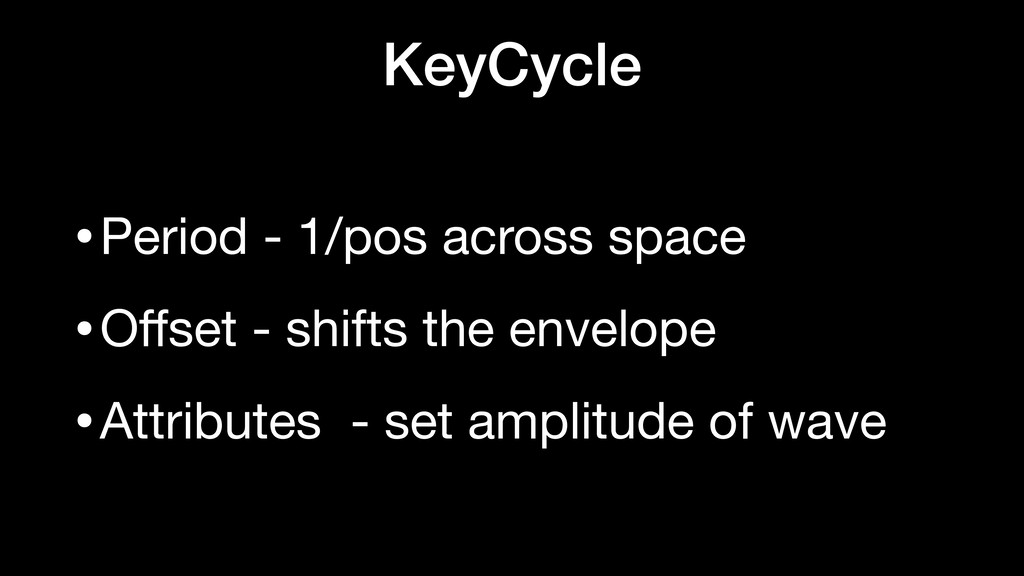KeyCycle •Period - 1/pos across space  •Offset -...