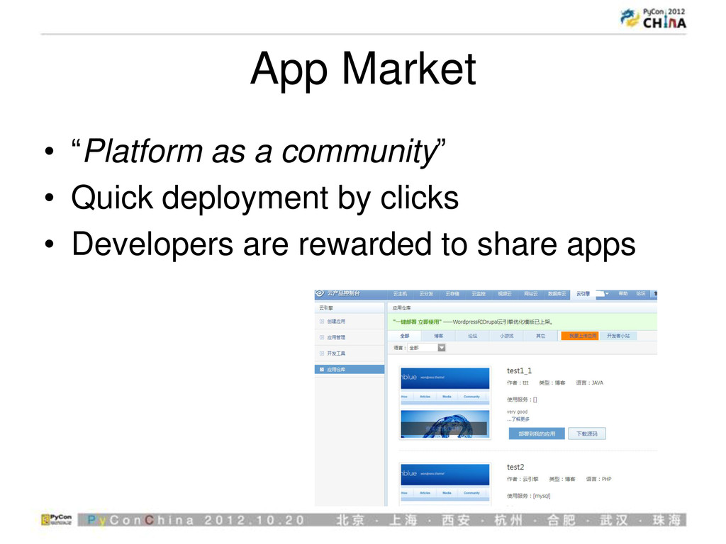 "App Market • ""Platform as a community"" • Quick ..."