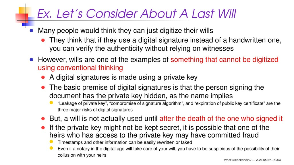 Ex. Let's Consider About A Last Will Many peopl...