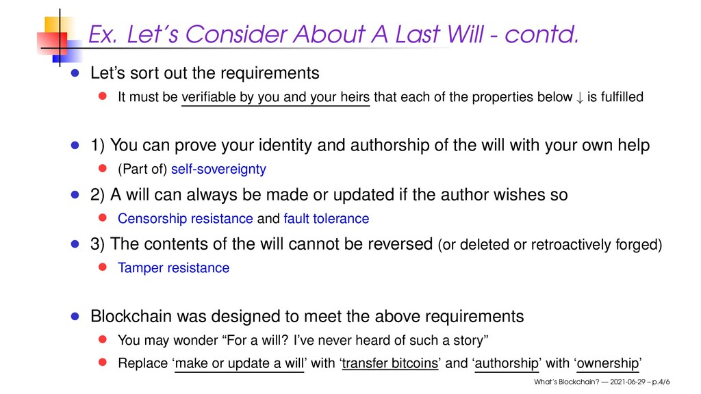 Ex. Let's Consider About A Last Will - contd. L...