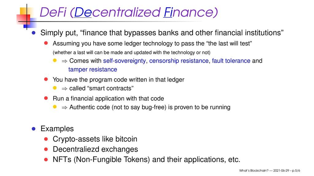 "DeFi (Decentralized Finance) Simply put, ""financ..."