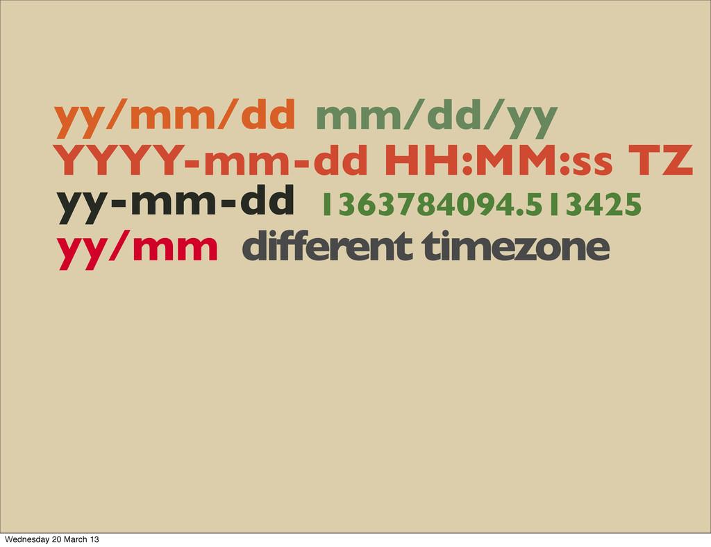 yy/mm/dd mm/dd/yy YYYY-mm-dd HH:MM:ss TZ yy-mm-...