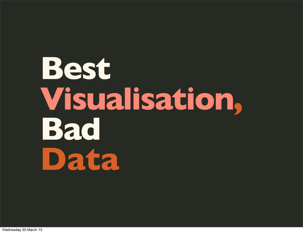 Best Visualisation, Bad Data Wednesday 20 March...