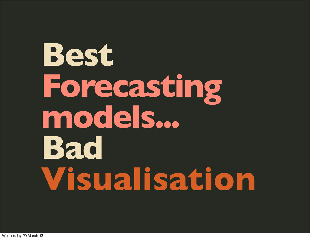 Best Forecasting models... Bad Visualisation We...