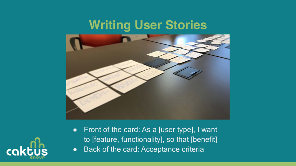 Writing User Stories ● Front of the card: As a ...