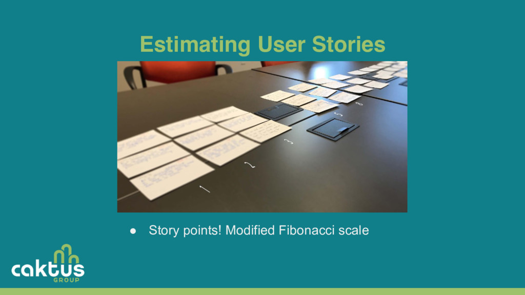 Estimating User Stories ● Story points! Modifie...