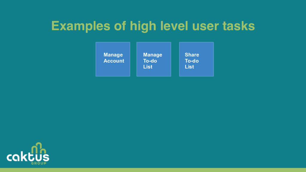 Examples of high level user tasks Manage Accoun...