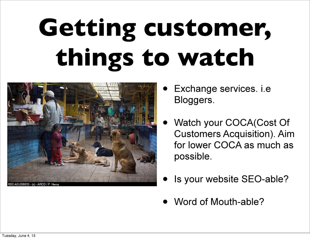 Getting customer, things to watch • Exchange se...