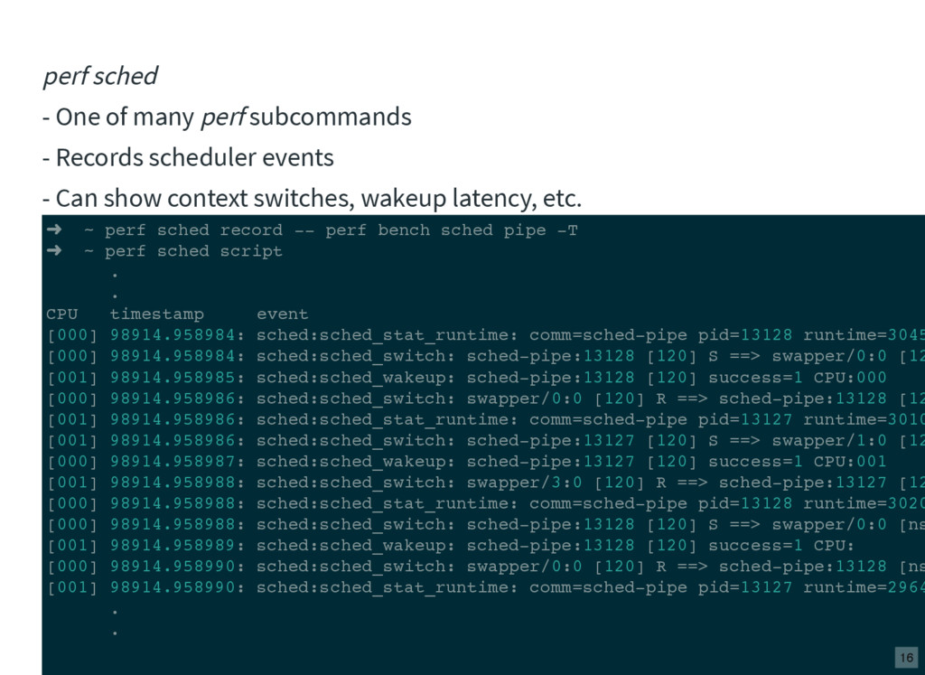 perf sched - One of many perf subcommands - Rec...