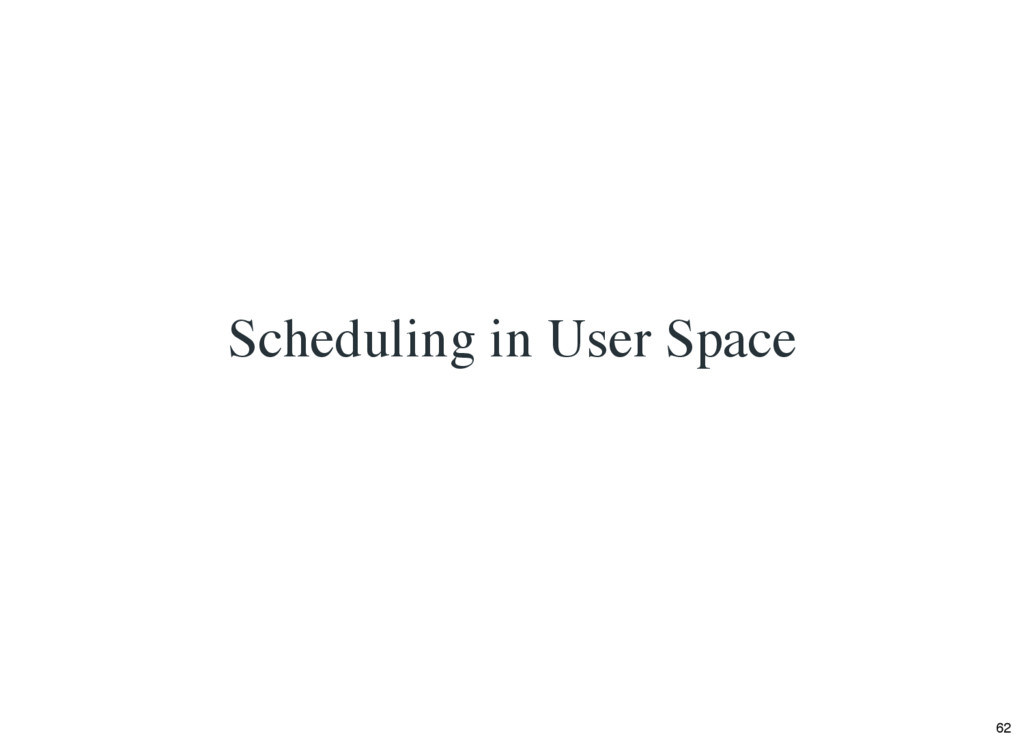Scheduling in User Space 62