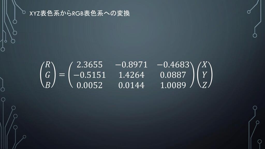 XYZ表色系からRGB表色系への変換    = 2.3655 −0.8971 −0.4683 ...