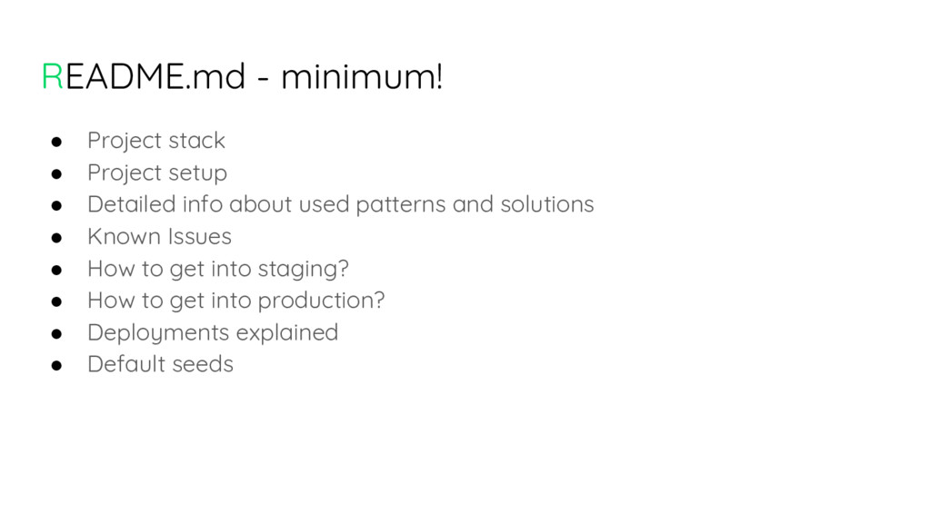 README.md - minimum! ● Project stack ● Project ...