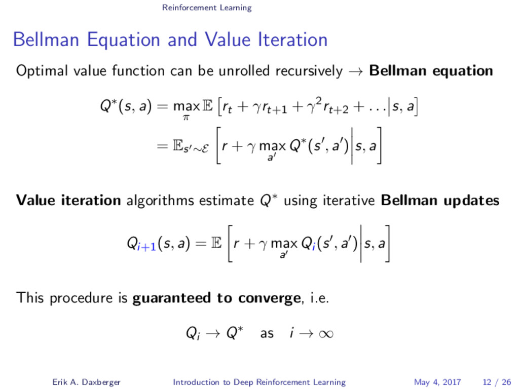 Reinforcement Learning Bellman Equation and Val...