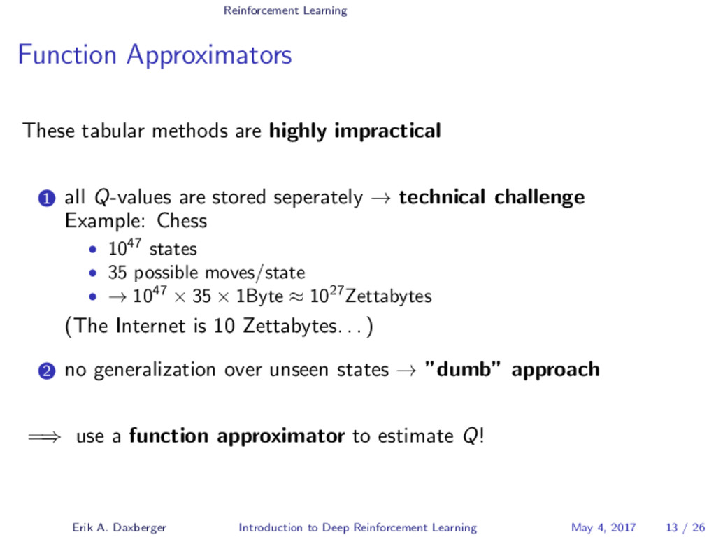 Reinforcement Learning Function Approximators T...