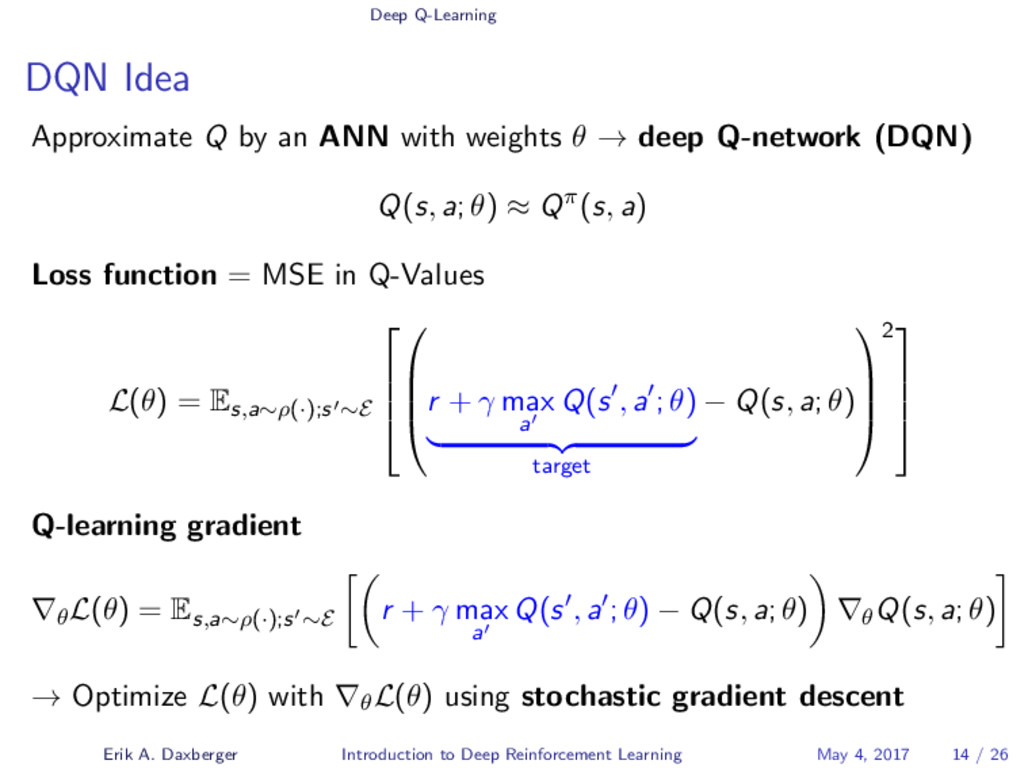 Deep Q-Learning DQN Idea Approximate Q by an AN...