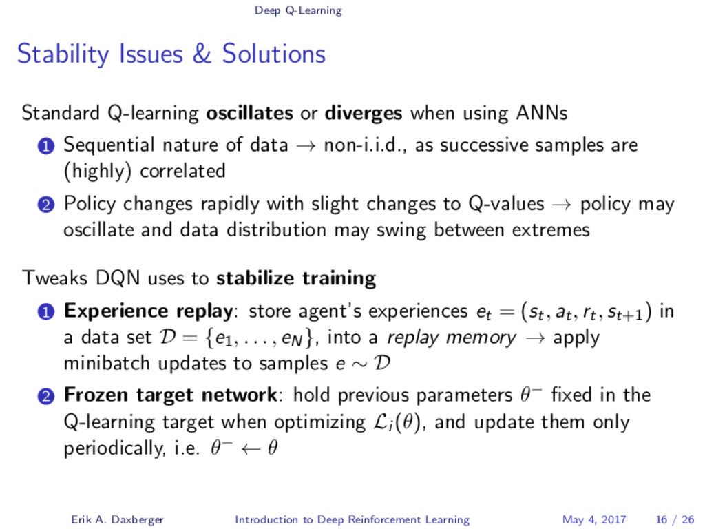 Deep Q-Learning Stability Issues & Solutions St...