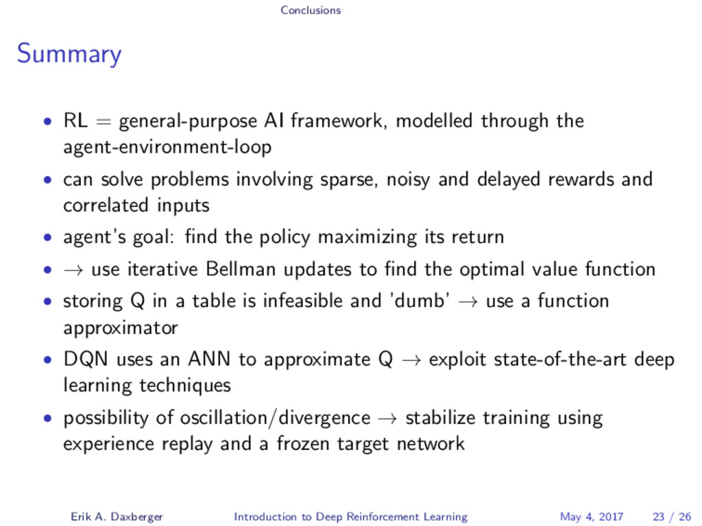Conclusions Summary • RL = general-purpose AI f...