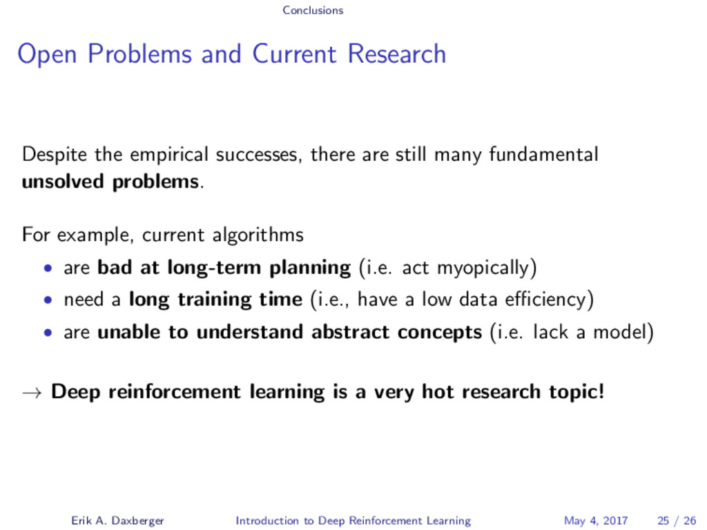 Conclusions Open Problems and Current Research ...