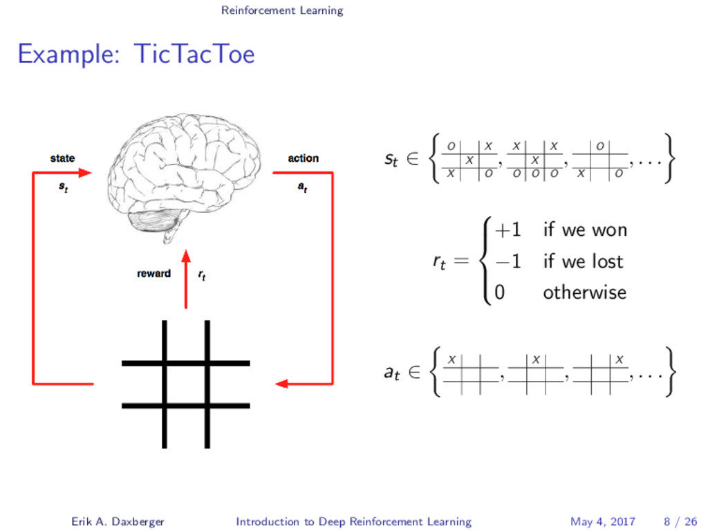 Reinforcement Learning Example: TicTacToe st ∈ ...