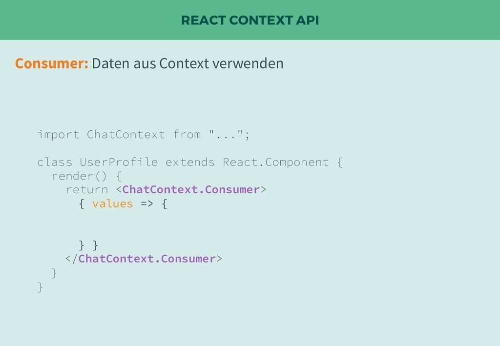 "REACT CONTEXT API import ChatContext from ""...""..."
