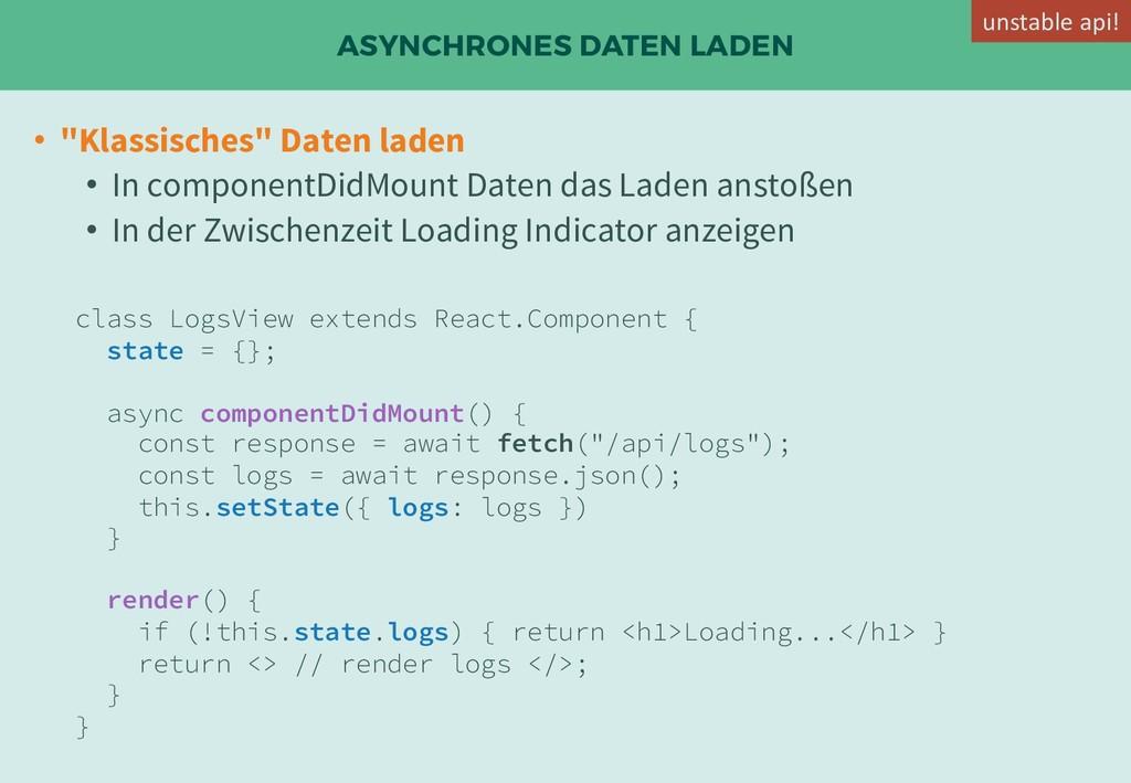 """ASYNCHRONES DATEN LADEN • """"Klassisches"""" Daten l..."""