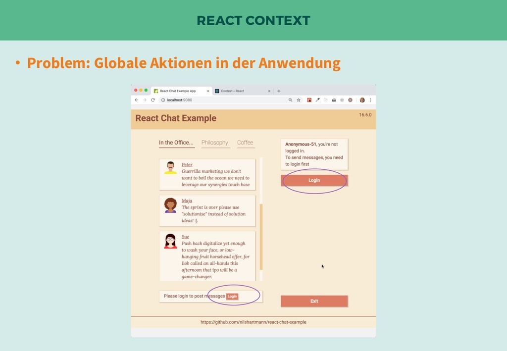 REACT CONTEXT • Problem: Globale Aktionen in de...