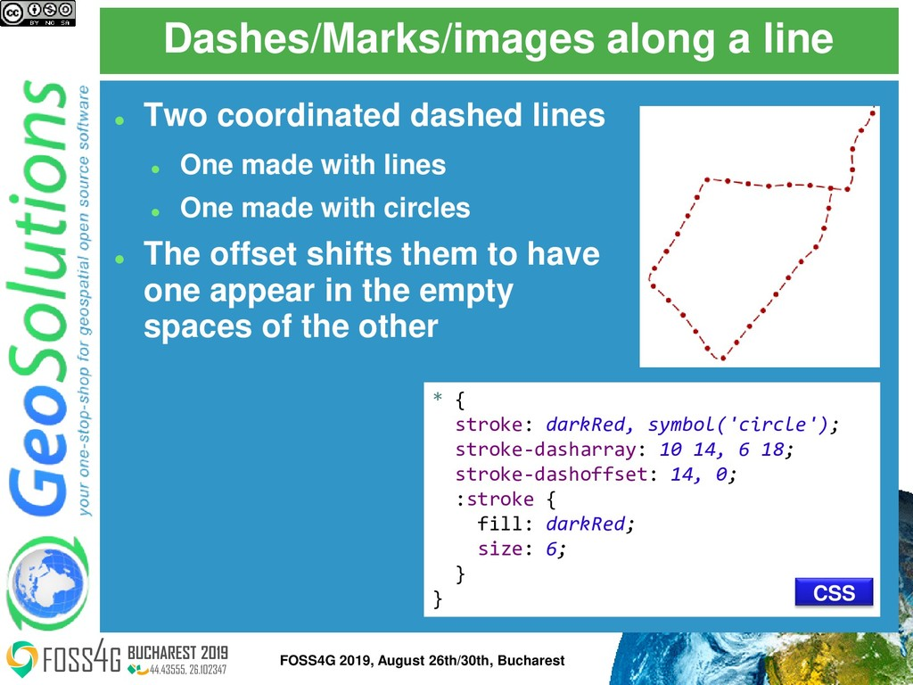 Dashes/Marks/images along a line * { stroke: da...