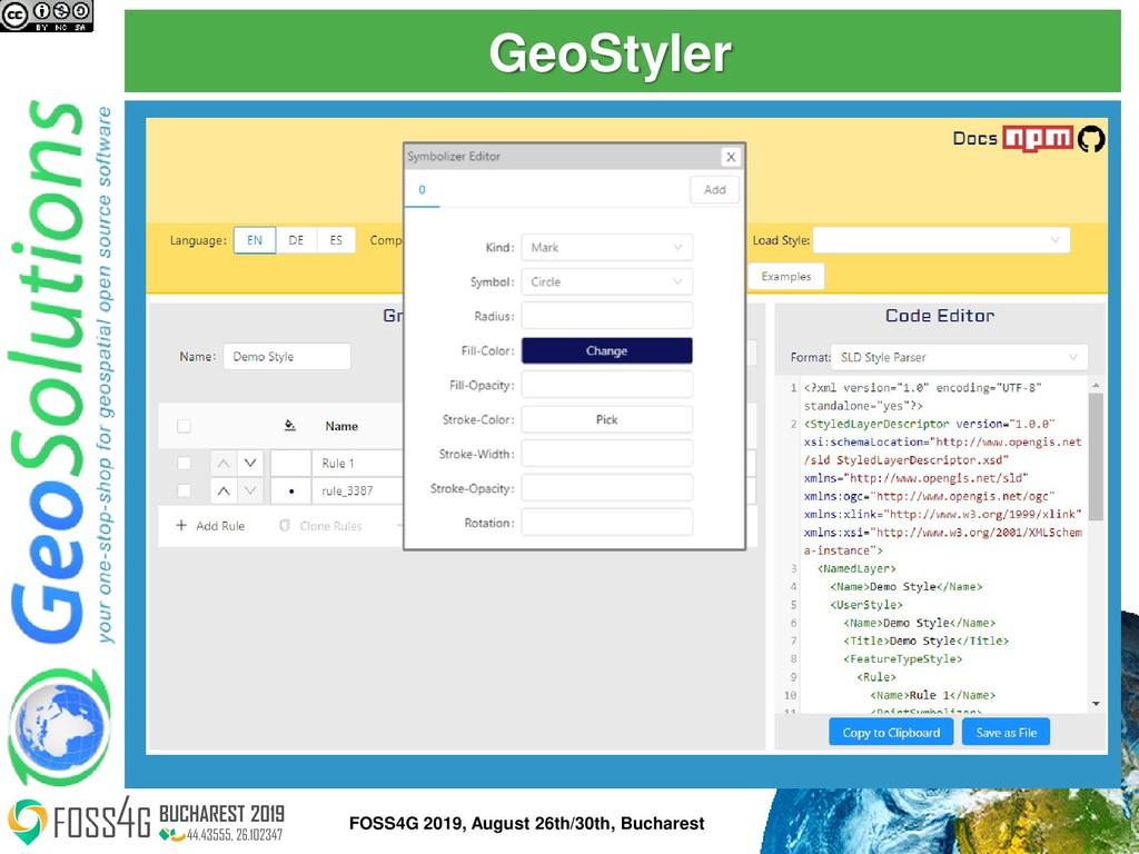 GeoStyler 50 FOSS4G 2019, August 26th/30th, Buc...