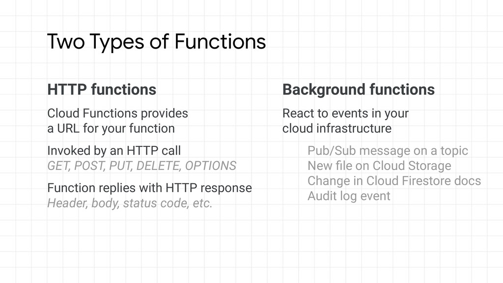 HTTP functions Cloud Functions provides a URL f...