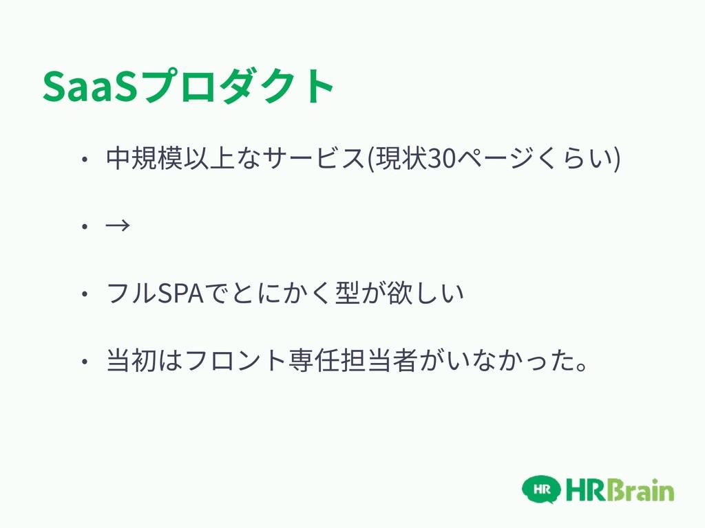 SaaSプロダクト • 中規模以上なサービス(現状30ページくらい) • → • フルSPAで...