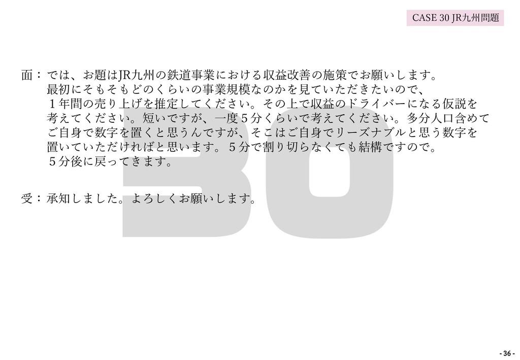 面:では、お題はJR九州の鉄道事業における収益改善の施策でお願いします。 最初にそもそもどのく...