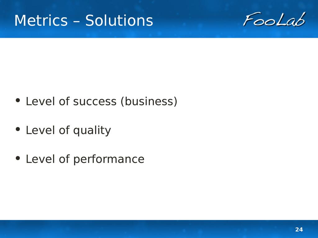 24 Metrics – Solutions • Level of success (busi...