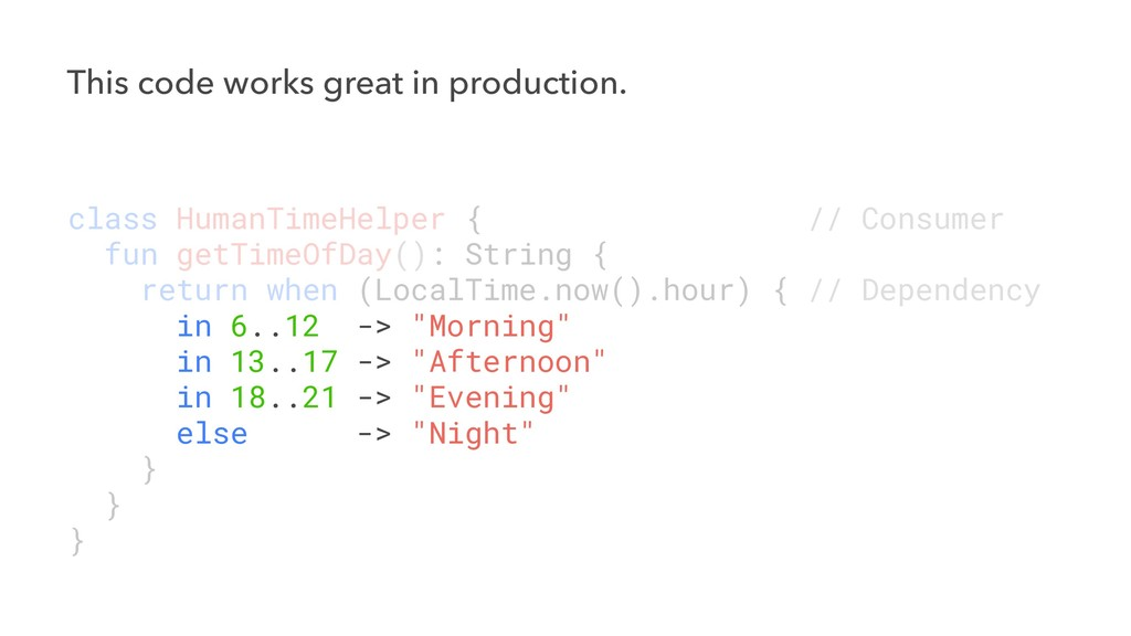 This code works great in production. class Huma...