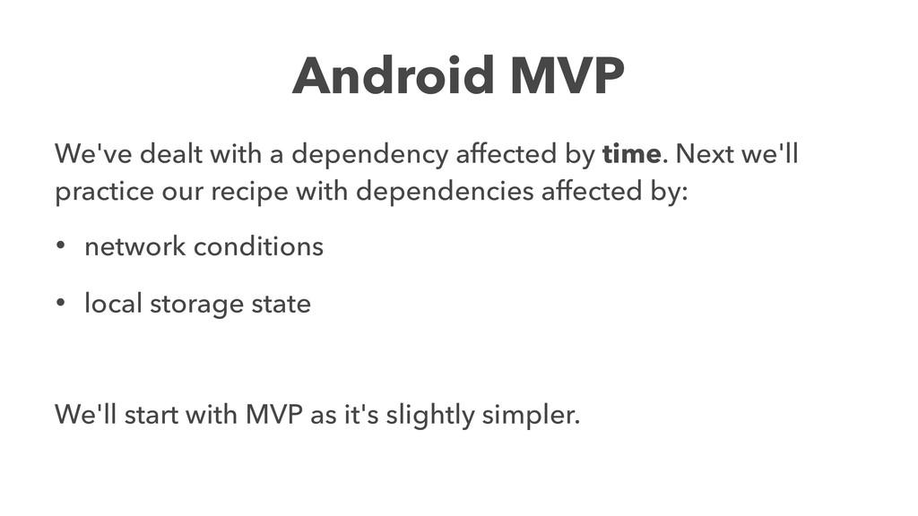 Android MVP We've dealt with a dependency affec...
