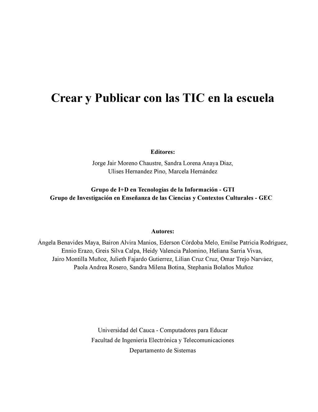 Crear y Publicar con las TIC en la escuela Edit...