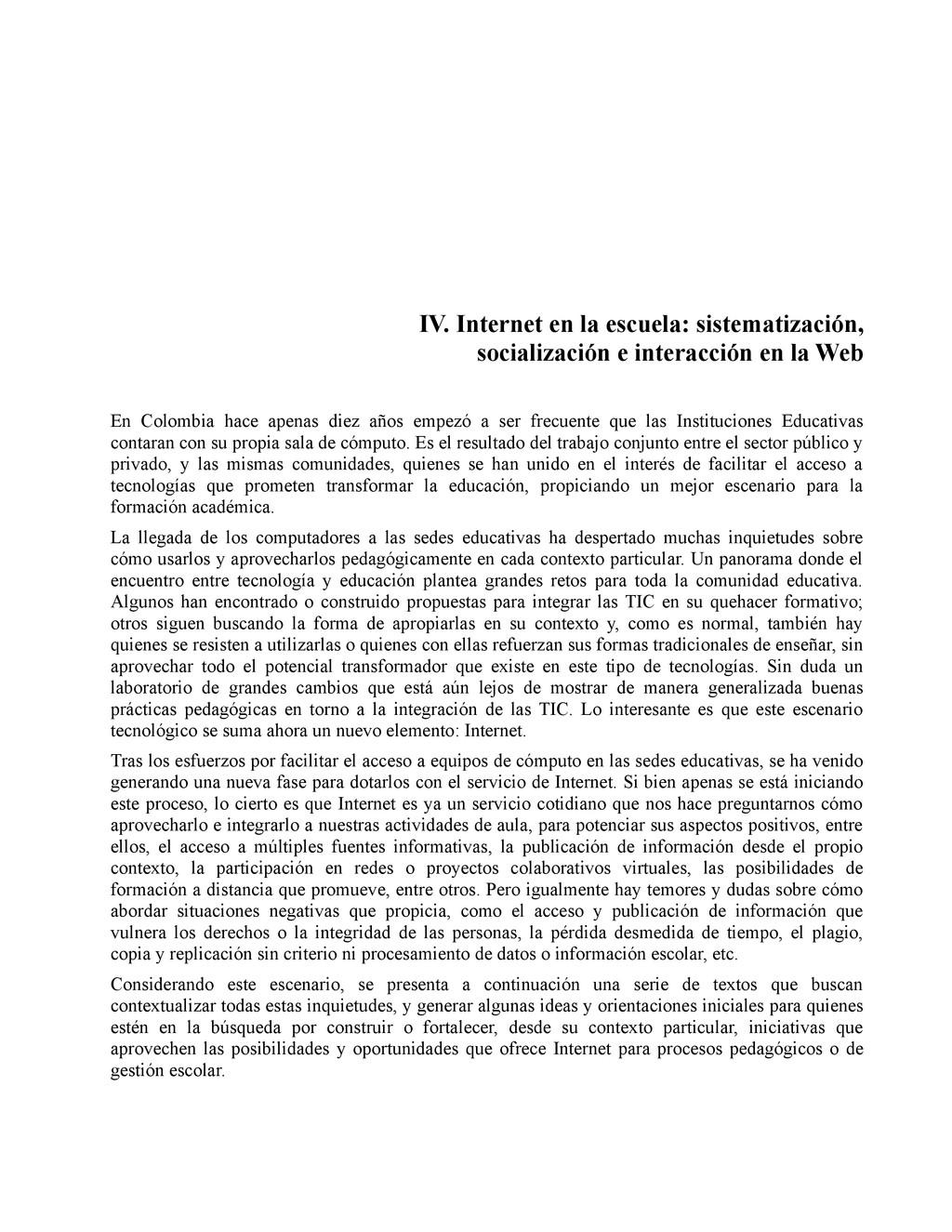 IV. Internet en la escuela: sistematización, so...