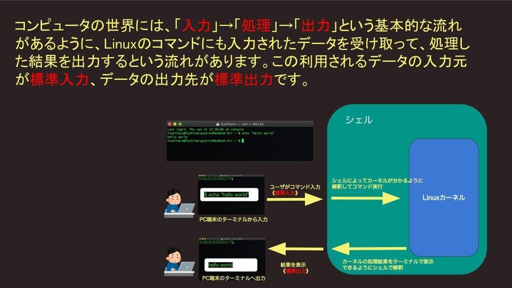 コンピュータの世界には、「入力」→「処理」→「出力」という基本的な流れ があるように、Linu...